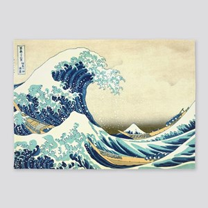 The Great Wave off Kanagawa 5'x7'Area Rug