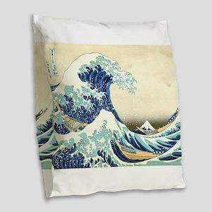 The Great Wave off Kanagawa Burlap Throw Pillow