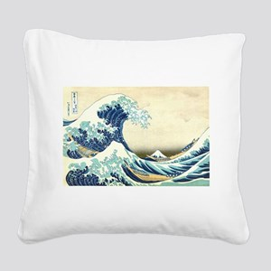 The Great Wave off Kanagawa Square Canvas Pillow