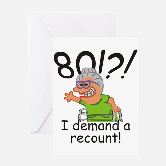 Recount 80th Birthday Funny Old Lady Greeting Card