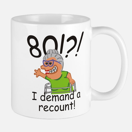 Recount 80th Birthday Funny Old Lady Mugs