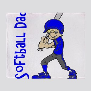 SOFTBALL DAD BLUE BLND Throw Blanket