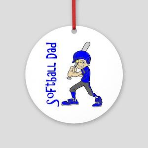 SOFTBALL DAD BLUE BLND Round Ornament