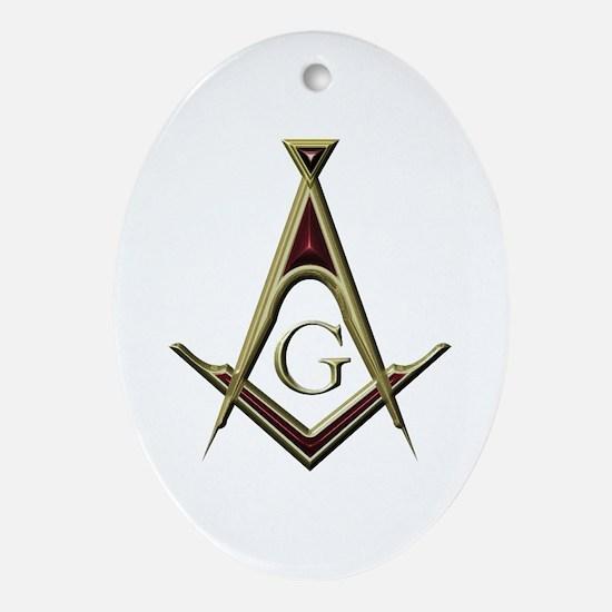 Masonic Square & Compass Oval Ornament