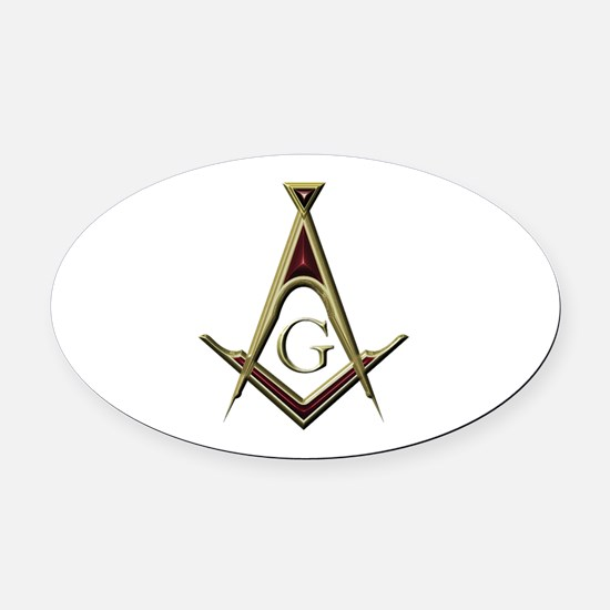 Masonic Square & Compass Oval Car Magnet