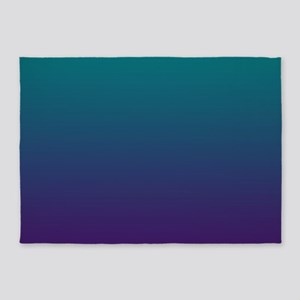 Ombre Purple And Teal 5'x7'Area Rug