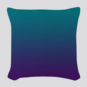 Ombre Purple And Teal Woven Throw Pillow