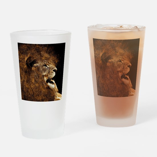 Funny White lion Drinking Glass