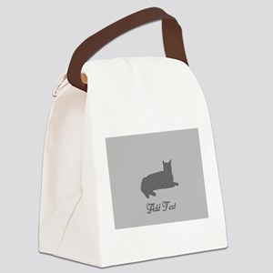 Cute Add Text Stitched Black Cat Canvas Lunch Bag