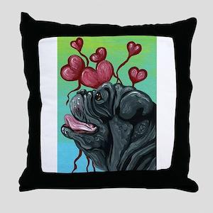Black Pug Heart Balloons Throw Pillow