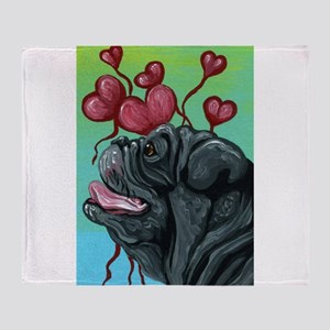 Black Pug Heart Balloons Throw Blanket