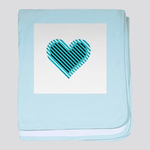 Blue Stripey Heart - Valentine's Day baby blanket