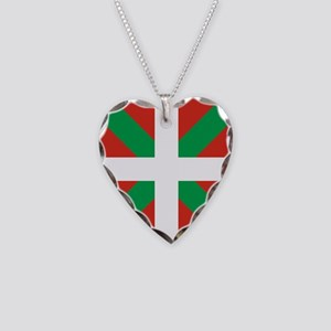 Basque Country: Euskaldun Fla Necklace Heart Charm
