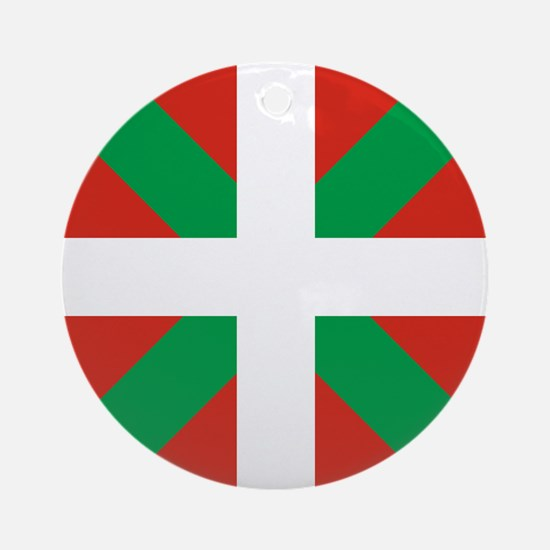 Basque Country: Euskaldun Flag Round Ornament