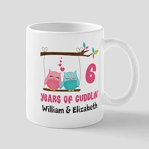 6th Anniversary Owls Personalized Mug