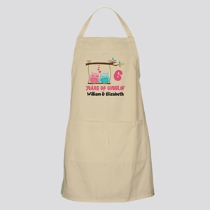 6th Anniversary Owls Personalized Apron