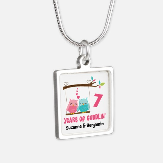 7th Anniversary 7 Years Owls Personalized Necklace