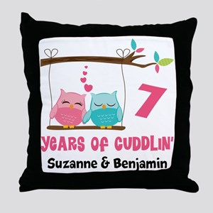 7th Anniversary 7 Years Owls Personalized Throw Pi