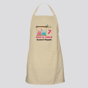 7th Anniversary 7 Years Owls Personalized Apron