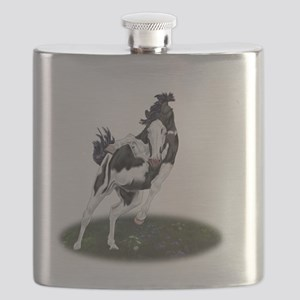 Rearing Black and White Overo Paint Horse Flask