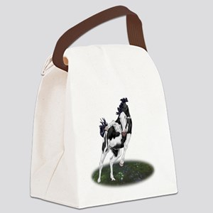 Rearing Black and White Overo Paint Horse Canvas L