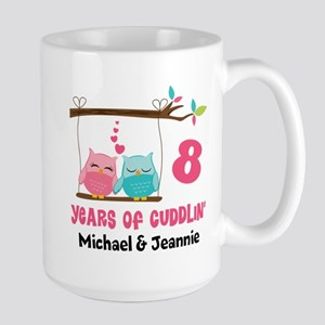8th Anniversary 8 Years Owls Personalized Mugs