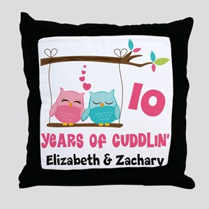 10th Anniversary 10 Years Owls Personalized Throw