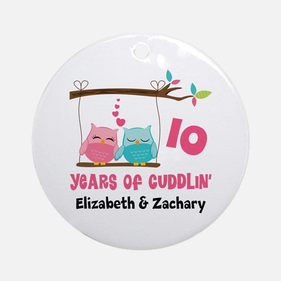 10th Anniversary 10 Years Owls Personalized Round