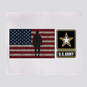 Usarmy Gold Star Flag Pp Throw Blanket