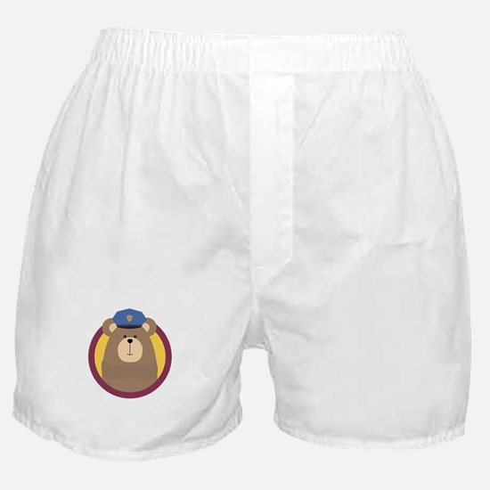 Police Officer Brown Bear in cirlce Boxer Shorts