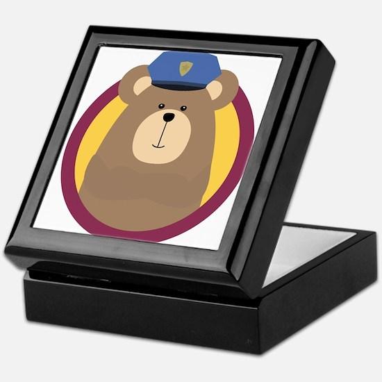 Police Officer Brown Bear in cirlce Keepsake Box