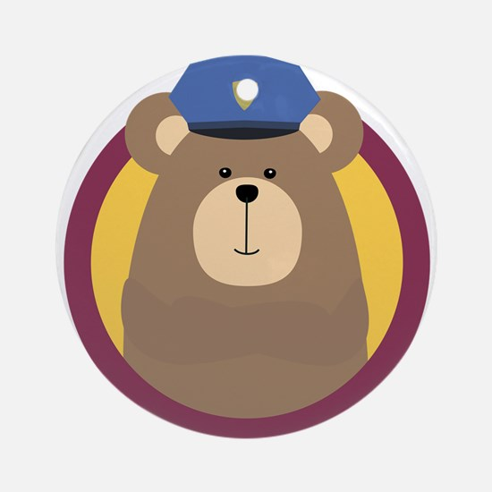 Police Officer Brown Bear in cirlce Round Ornament
