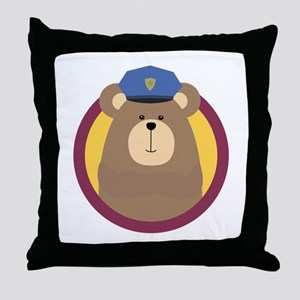Police Officer Brown Bear in cirlce Throw Pillow