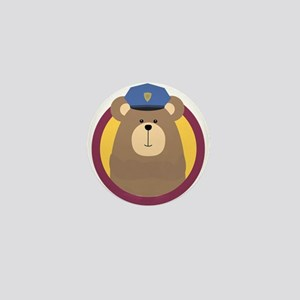 Police Officer Brown Bear in cirlce Mini Button