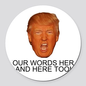CAPTION TRUMP! Customizable Presi Round Car Magnet
