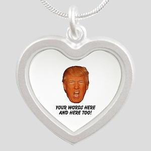 CAPTION TRUMP! Customizable Silver Heart Necklace