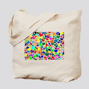 valentine rainbow hearts Tote Bag