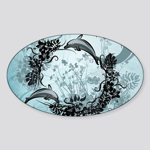 Cute dolphin with wave and flowers Sticker