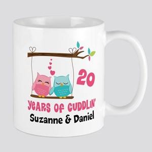 20th Anniversary 20 Years Owls Personalized Mugs