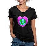Love Our Planet Women's V-Neck Dark T-Shirt