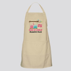 25th Anniversary 25 Years Owls Personalized Apron