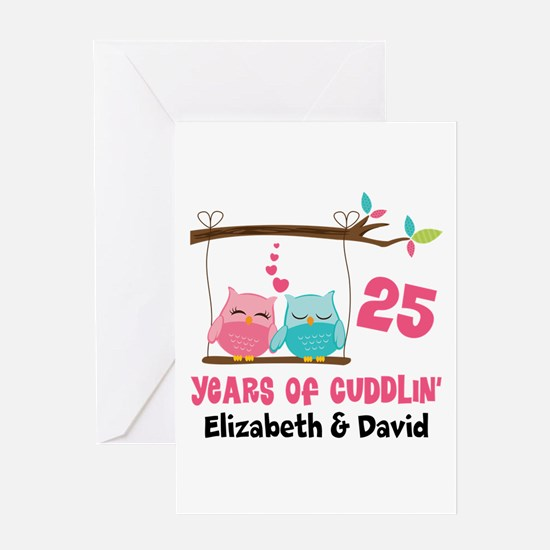 25th Anniversary 25 Years Owls Personalized Greeti