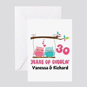 30th Anniversary 30 Years Owls Personalized Greeti