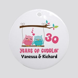 30th Anniversary 30 Years Owls Personalized Round