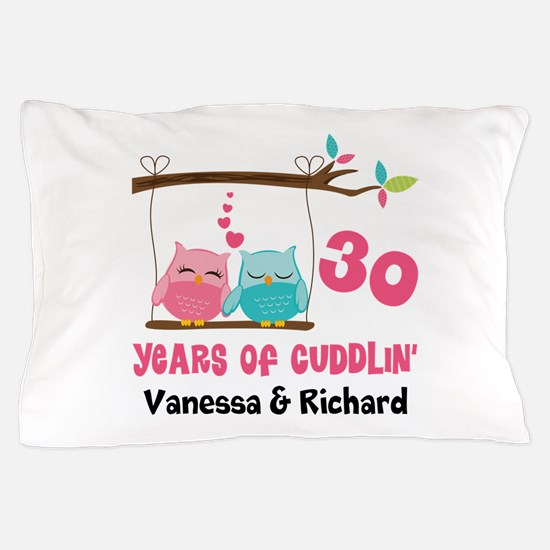 30th Anniversary 30 Years Owls Personalized Pillow