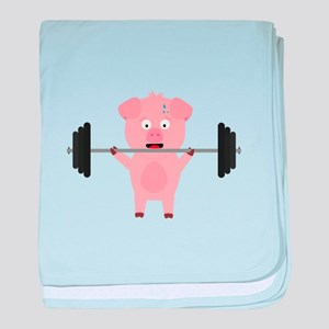 Fitness Pig with Weights baby blanket