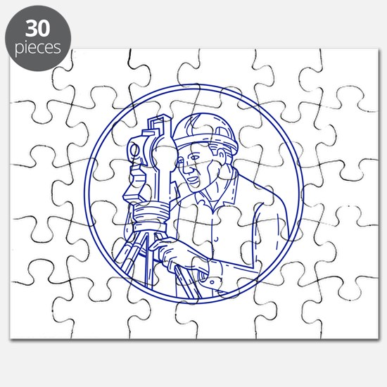 Surveyor Theodolite Circle Mono Line Puzzle