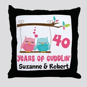 40th Anniversary 40 Years Owls Personalized Throw