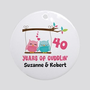 40th Anniversary 40 Years Owls Personalized Round