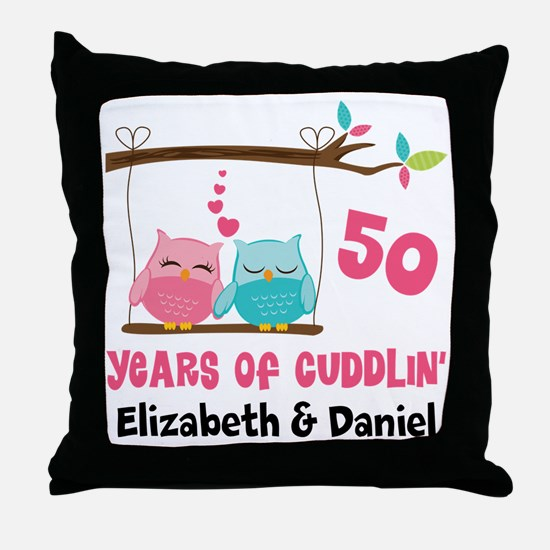 50th Anniversary 50 Years Owls Personalized Throw